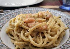 Linguine ai gamberetti con pesto di zucchine e pistacchi