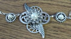 Silver Necklace with Pearl Studded Pendant, Steampunk,Watch Cogs,Wings,Holiday gift idea,Gift for her,Accessories,Costume, Women's Jewelry by TheAndromedaGallery on Etsy