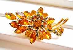 Rhinestone Brooch Gold Yellow Amber Vintage by RenaissanceFair, $27.00
