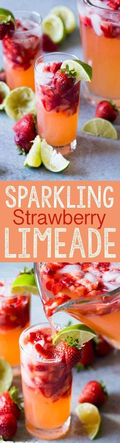 Sparkling Strawberry Limeade I made this and wanted to drink the whole pitcher myself! Sparkling Strawberry Limeade is fresh refreshing and perfect for parties. Eazy Peazy Mealz The post Sparkling Strawberry Limeade appeared first on Summer Ideas. Non Alcoholic Drinks, Fun Drinks, Yummy Drinks, Healthy Drinks, Refreshing Drinks, Yummy Food, Beverages, Nonalcoholic Summer Drinks, Tasty