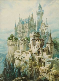 Sketch for Falkenstein Castle by Christian Jank, 1883. Falkenstein was the last project of King Ludwig of Bavaria - the ruins of a medieval castle, west of Neuschwanstein and perched a thousand feet higher on an even more spectacular mountain crag, that he planned to rebuild in mock-Gothic splendour. Though the royal purse was almost empty, the King vexed a succession of Court Architects by rejecting any attempt at practicality or economizing. The last men on the job pleased him