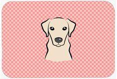 Checkerboard Pink Yellow Labrador Mouse Pad - Hot Pad or Trivet BB1222MP #artwork #artworks