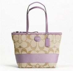 Lavender accents.  Google Image Result for http://www.luxurycometrue.com/upload/Coach-Signature-Stripe-Tote---Light-Khaki-Lavender-F17433_1968_1.jpg #lavender, #coach, #handbags