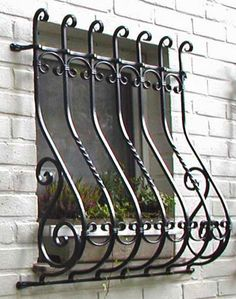 Window grille with belly – ferforge Home Window Grill Design, Iron Window Grill, Balcony Railing Design, Wrought Iron Stairs, Wrought Iron Decor, Metal Railings, Window Security Bars, Steel Security Doors, Iron Windows