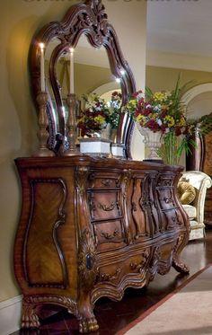 Dream dresser and mirror. AICO Chateau Beauvais.
