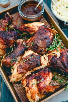 Apple Butter Roasted Chicken - Roasted Chicken with Apple Butter Glaze Sweet and savory apple butter is used as a saucy glaze on this roasted chicken for a great Sunday night meal. Recipe Using Apple Butter, Apple Butter Uses, Recipe Using Apples, Butter Recipe, Entree Recipes, Dinner Recipes, Cooking Recipes, Roast Chicken Recipes, Roasted Chicken