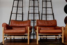 Mid-Century Safari chairs, a perfectly preserved pair, and antique ladders that are simple, rustic, chic. http://bdantiques.com/