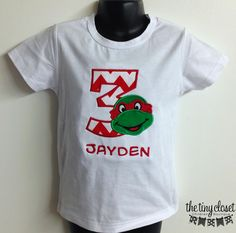 Personalized Ninja Turtle Birthday Design - Red Chevron