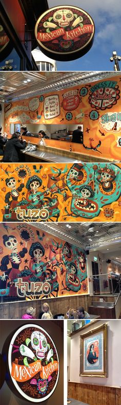 We can design, produce, and install these kind of eye popping graphics for your space.  Tuzo - Mexican Kitchen Illustrations: