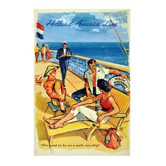 Original Mid Century Advertising Poster for the Holland America Cruise Ship Line | From a unique collection of more prints at http://www.1stdibs.com/art/prints-works-on-paper/more-prints-works-on-paper/