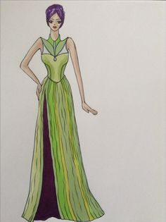 Green and purple gown, design and illustration by Kelsey Lovelle