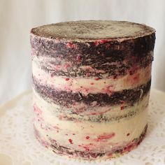 naked-style cake. this is a chocolate pbj cake.