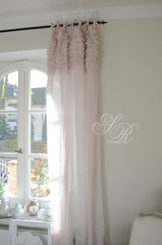 Bedroom Curtain. Pink,  White, Grey, Black, Chippy, Shabby Chic, Whitewashed, Cottage, French Country, Rustic, Swedish decor Idea. ***Pinned by oldattic ***.