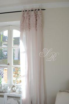 Ruffled curtain panels, shabby chic style curtains, white ruffles ...