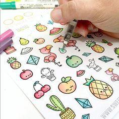 Designer thinks this sticker sheet just screams SUMMER. She loved wat… – Zeichnung , Kritzeleien und mehr Kawaii Drawings, Doodle Drawings, Easy Drawings, Doodle Art, Bullet Journal Ideas Pages, Bullet Journal Inspiration, Doodles Kawaii, Griffonnages Kawaii, Happy Fruit