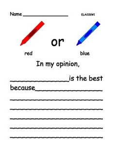 Opinion Writing: Favorite Colors (Kindergarten, 1st grade, 2nd grade) (11 pages)  $