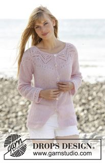 """Pink Connection Cardigan - Knitted DROPS jacket with lace pattern, round yoke and vents in the side """"Brushed Alpaca Silk"""". Worked top down. Size: S - XXXL. - Free pattern by DROPS Design Sweater Knitting Patterns, Cardigan Pattern, Knitting Stitches, Knit Patterns, Free Knitting, Rosa Pullover, Drops Design, Alpacas, Knit Jacket"""