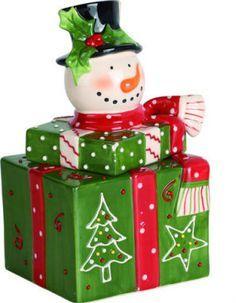 Snowman on presents Cookie Jar