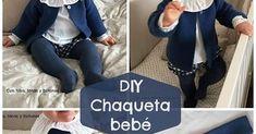 Chaqueta de punto bobo para bebé paso a paso - bebe - Baby Kimono, Baby Cardigan, Baby Sweaters, Baby Knitting Patterns, Knitwear, Denim, Jackets, Clothes, Fashion