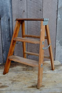 Step Ladder Vintage Small Wooden Folding Step Stool Industrial Decor Display…