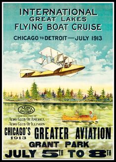 Great Lakes Flying Boat Cruise Poster Print - 1913