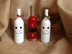 Snowman Wine Bottle by MunchkinsMakings on Etsy, $13.00