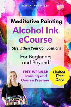 Are you tired of throwing away bad paintings? Come join us on this meditative journey! My students are loving it! I am offering a FREE webinar, so you can preview the course. I'll train you on the painting mindset for insane creative confidence. Next, you can join the Meditative Painting Course and learn over 25+ alcohol ink techniques on yupo paper and improve every single day! |  #alcoholinkdiy #alcoholinktutorial #alcoholinkart alcohol ink beginner, alcohol ink painting, alcohol ink… Painting Courses, Painting Lessons, Painting Tips, Art Lessons, Drawing Lessons, Alcohol Ink Crafts, Alcohol Ink Painting, Alcohol Ink Art, Bad Painting
