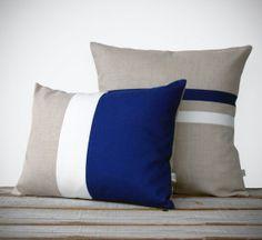 Striped Colorblock Pillow Set | Cobalt and Cream Striped Pillow (16x16) Color Block Pillow (12x16) by JillianReneDecor | Dazzling Blue