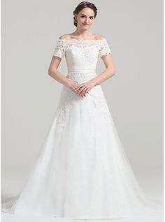 A-Line/Princess Off-the-Shoulder Court Train Zipper Up Covered Button Sleeves Short Sleeves Church General Plus No Winter Spring Fall Ivory Tulle Lace Wedding Dress