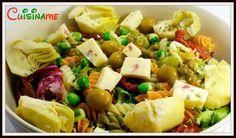 Ensalada de pasta con alcachofas y guisantes de wasabi. Una delicia al paladar.
