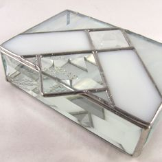 fb1869b86fb3 Shades of White Square Bevel Stained Glass Box