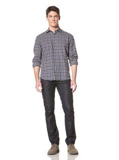 65% OFF James Campbell Men\'s Hilton Plaid Shirt (Navy)