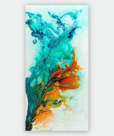 Abstract Art Giclee Print on Canvas, Gold Turquoise Teal Colorful Art Print from Original Painting, Large Modern Canvas Art by Julia Bars