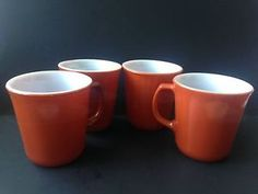 Set of 4 Corning N Y U s A Burnt Orange Coffee Mugs | eBay