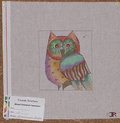Hand-painted needlepoint canvas Renaissance Design jeweled owl