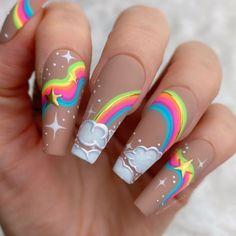 Neon Acrylic Nails, Acrylic Nails Coffin Short, Acrylic Nail Designs, Gel Nails, Nail Polish, Kid Nail Designs, Rainbow Nail Art Designs, Bright Nail Designs, Colorful Nail Art