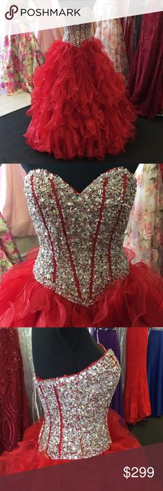 RED STUNNING NEW RED BALL GOWN FULL RED BALL GOWN WITH BEAUTIFUL BEADED BODICE WITH CORSET BACK. THIS DRESS WOULD BE GREAT FOR PROM AND QUINCEANERA BRAND NEW NEVER WORN. SMOKE FREE / PET FREE. CAN BE WORN WITH CRINOLINE OR WITHOUT. SIZE SMALL. Dresses