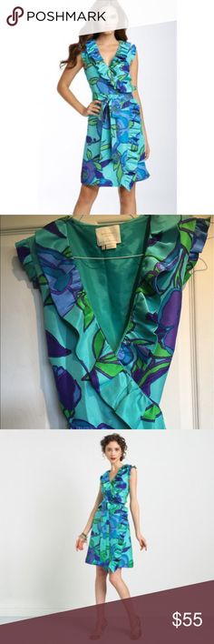 Kate Spade Aubrey Isle floral silk wrap dress EUC Kate Spade Aubrey Emerald Isle floral silk ruffle wrap dress . 100% silk and absolutely lovely . No rips , stains or tears . Pet free and smoke free home kate spade Dresses Mini