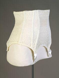 Waist-cincher garter belt with elastic back panel and steel boning, American, 1950s, KSUM 2011.12.15.