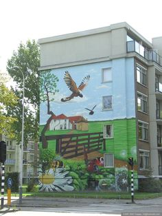 Wall Painting at Vrederustlaan - Den Haag Street Art, Outdoor Decor, Painting, Home Decor, The Hague, Homemade Home Decor, Painting Art, Paintings, Paint