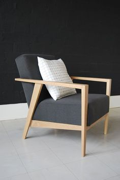 Charlie Chair - perfect combo of modern lines, blonde wood and grey fabric  De Steyl Quality Furniture