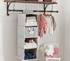 Love the shelf with hanging storage underneath for guest room