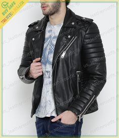 New Arrival Men Real Lambskin Motorcycle Premium Quality Leather Biker Jacket 74 Leather Jeans Men, Lambskin Leather Jacket, Leather Jackets, Stylish Jackets, Stylish Men, Men Casual, Casual Outfits, New Mens Fashion, Leather Fashion