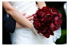 Dark red peony bouquet!!!! Winter weddings!