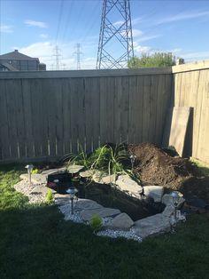 #diybackyard #smallbackyard #diypond #rockpond #lightedpond #backyard #diyoutdoor #diysummer #backyardpond