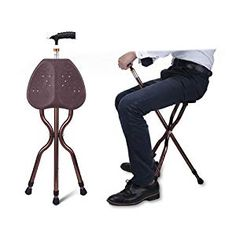Gu0026M Adjustable Folding Walking Cane Chair Stool Massage Walking Stick with Seat Portable Fishing Rest Stool  sc 1 st  Pinterest & Portable Walking Chair (Cane / Stool) from The Stadium Chair Company ...