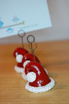 polymer clay santa hat photo holder place card by SMarrtCreations, $6.00