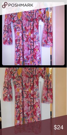 Simply Southern short dress, bold vibrant colors Super cute, vibrant colors, definitely a dress to be complemented while wearing. No flaws, never worn. Took tags off and hung in closet. Comes from smoke free l, pet free home. Simply Southern Dresses Midi