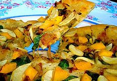 *roasted apple, butternut squash and carmalized onion pizza* is AMAZING...have made  MANY times...from Chef Chloe