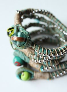style-diaries: scrap bracelets use rhinestone strings or other beads too!